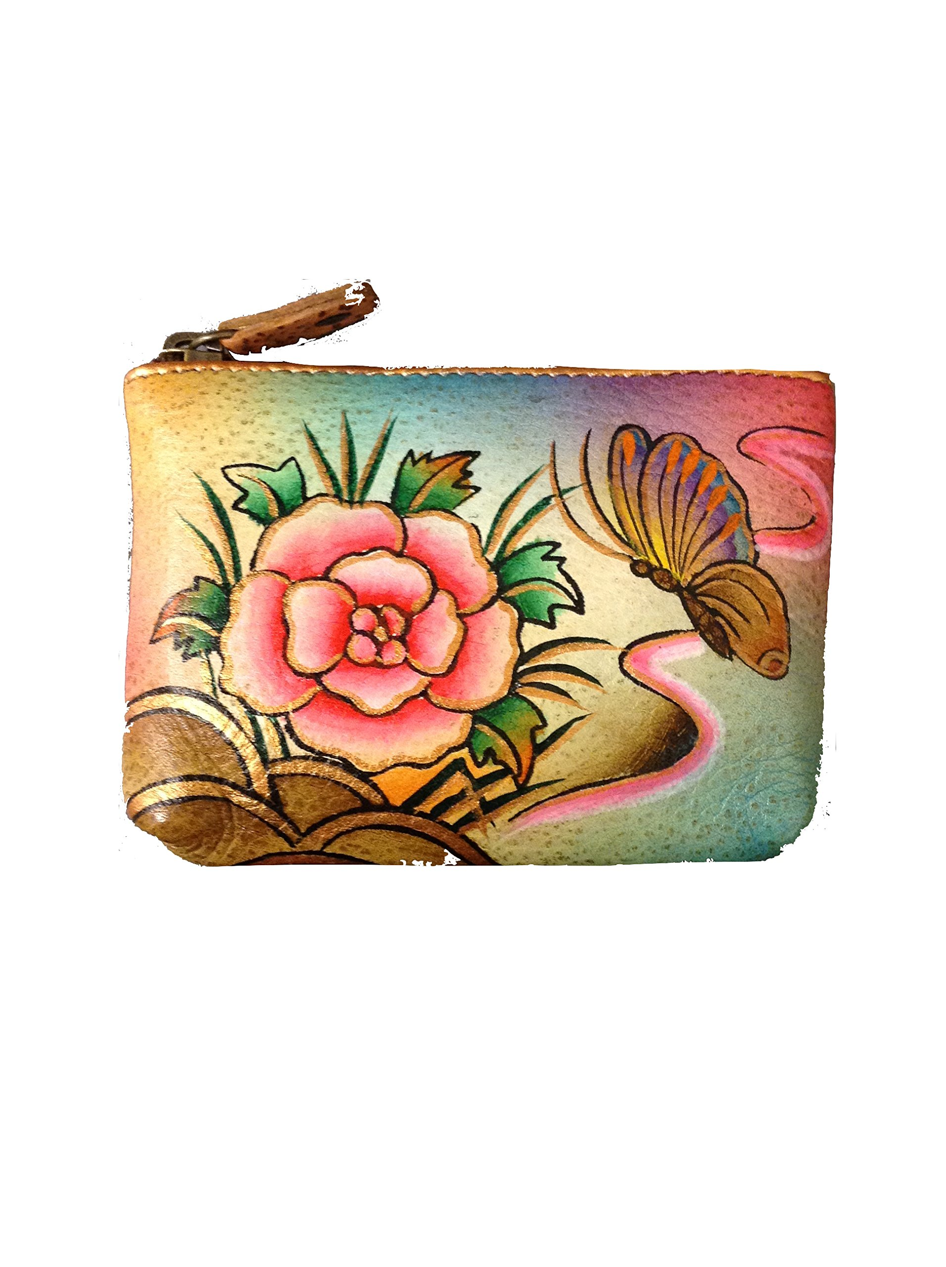 Anuschka Genuine Leather Hand Painted Coin Pouch (Floral) by Anuschka (Image #1)