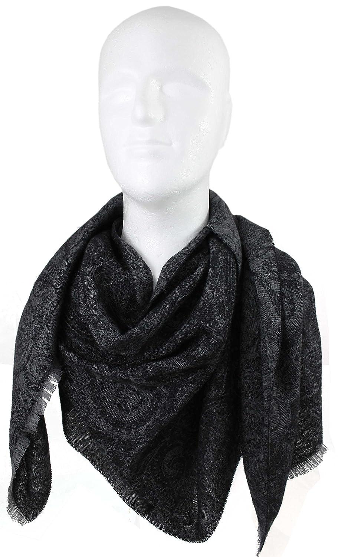 Merino Scarf woven scarf Paisley fashionable gray black 100/% wool
