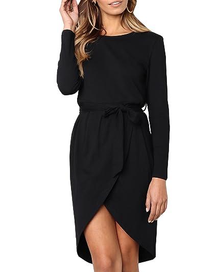 Lueyifs Vokuhila T Kleid Langarm Asymmetrisch Shirt Damen 1FJclK