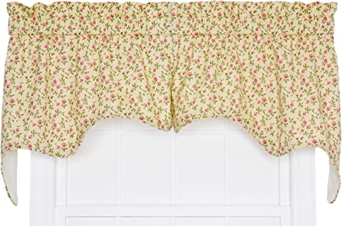Ellis Curtain Marcia Floral Vine Print 2-Piece Empress Lined Swag Window Treatment Valance, 70 by 28-Inch, Green
