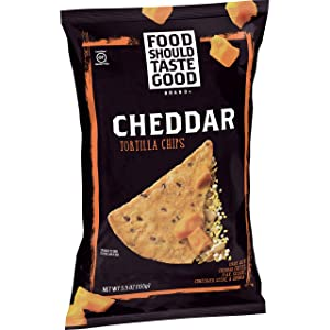 Food Should Taste Good, Tortilla Chips, Cheddar, Gluten Free Chips, 5.5 oz (Pack of 12)