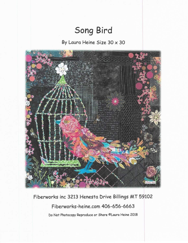 Song Bird Collage Applique Quilt Pattern by Laura Heine from Fiberworks Inc. 30'' x 30'' LHFWSONGBIRD by Fiberworks