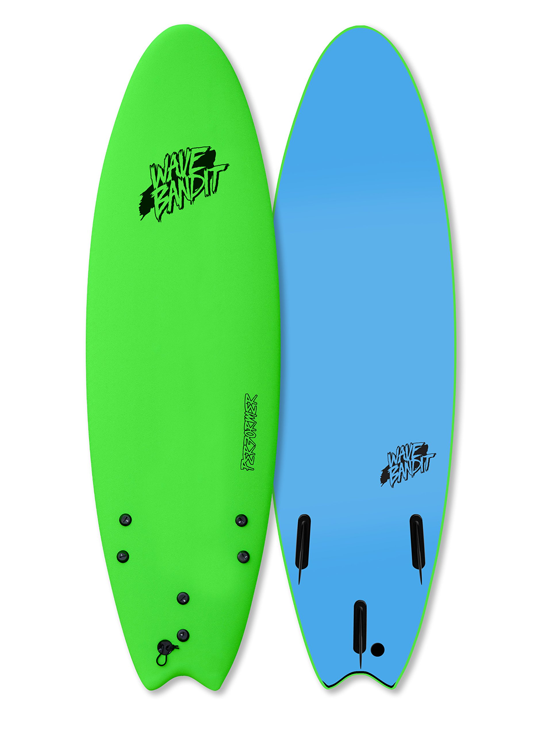 Wave Bandit Performer Tri Surfboard, Neon Green, 6'6'' by Wave Bandit