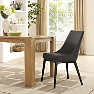 Modway Viscount Mid-Century Modern Upholstered Fabric Kitchen and Dining Room Chair in Brown