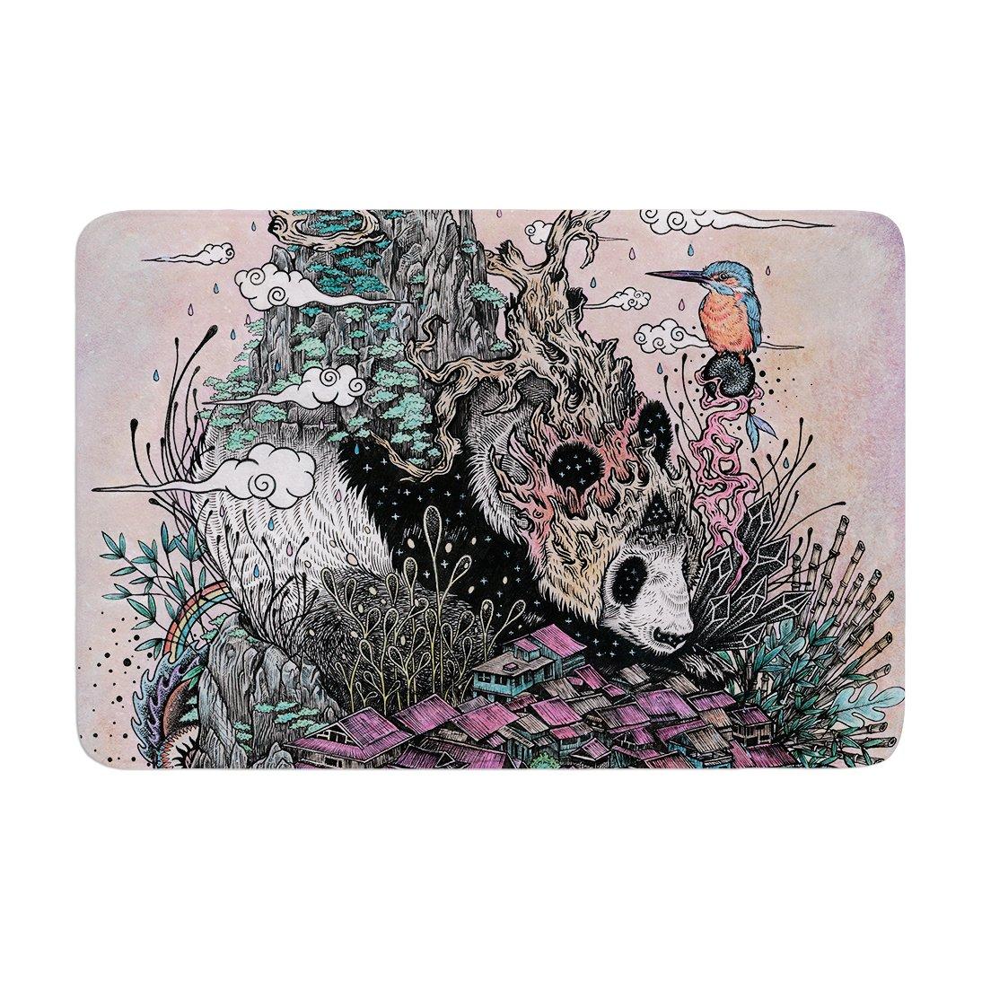 Kess InHouse 'Mat Miller Land of The Sleeping Giant Panda Memory Foam Bath Mat, 17 by 24'