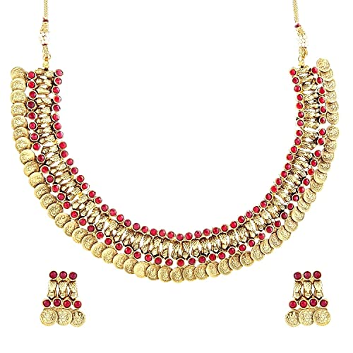 The Jewelbox Gold-Plated Choker Necklace For Women (Red) Jewellery Sets at amazon