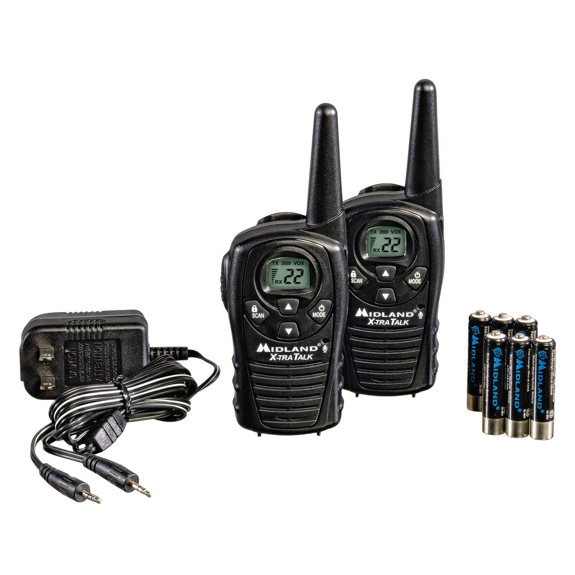 Midland - LXT118VP, 22 Channel FRS Two-Way Radio with Channel Scan - Up to 18 Mile Range Walkie Talkie, Hands-Free VOX, Water Resistant (Pair Pack) (Black) by Midland