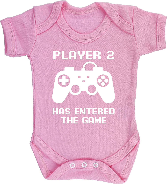 Boys Girls Short Sleeve Hippowarehouse Player 2 has Entered The Game Baby Vest Bodysuit