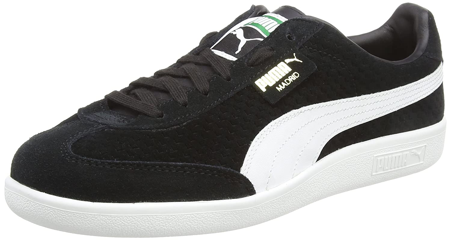 Puma Unisex-Erwachsene Madrid Perforated Suede Sneaker  48.5 EU|Schwarz (Puma Black-puma White-puma Team Gold)