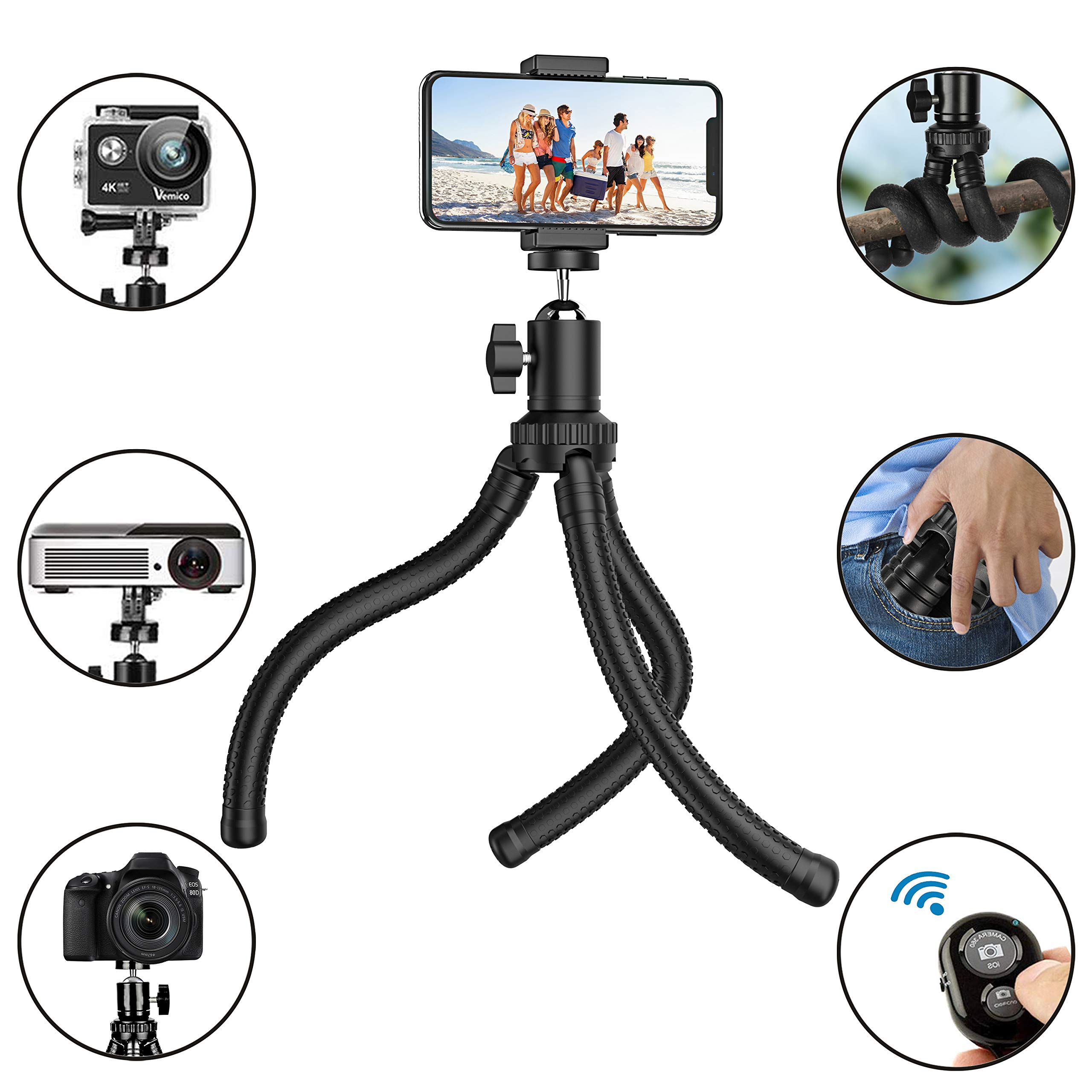 Phone Tripod, Flexible Cell Phone Tripod with Wireless Remote Shutter and Universal Clip, Adjustable Tripod Stand Holder for iPhone, Android Phone, Camera Gopro (Upgraded) by Aptoyu
