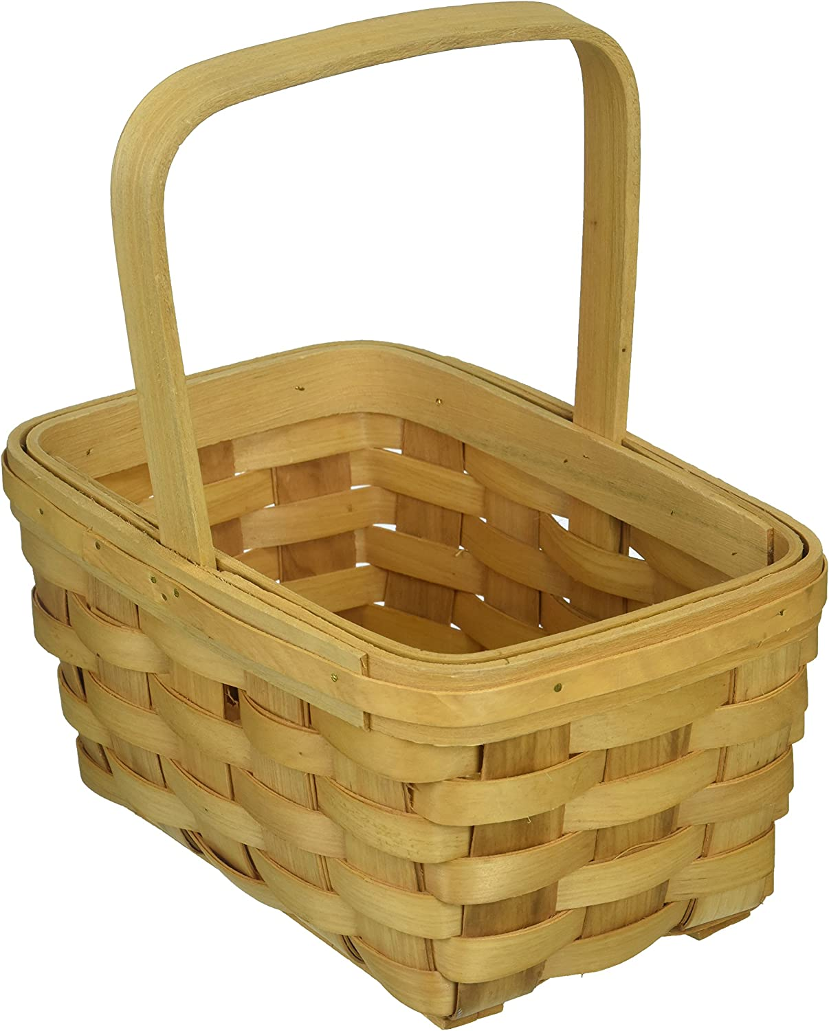 Darice, 8.5 inch, Wood Country Basket with Fixed Handle, Brown