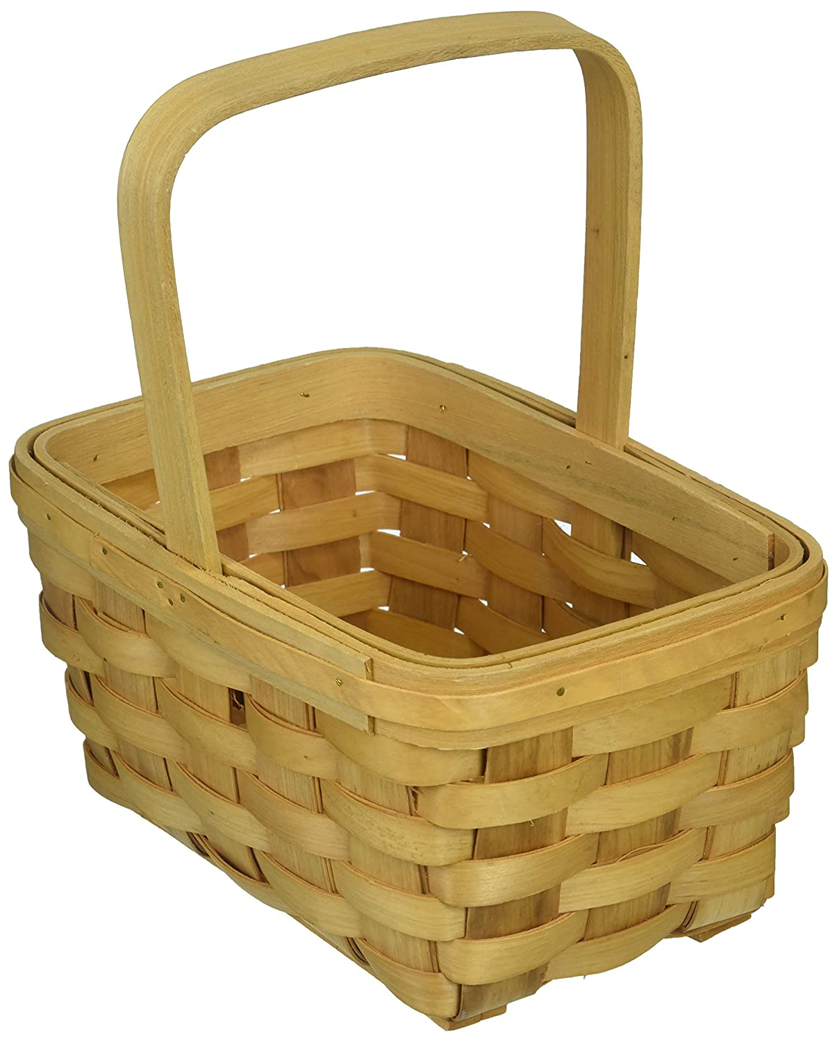 Darice 2848-22 Wood Basket 8.5, Wood Country Basket with Fixed Handle