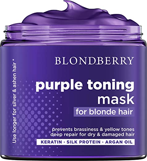 Purple Hair Mask for Silver & Platinum Hues - Made in USA - Advanced Purple Pigment with Natural Keratin & Argan Oil - Removes Yellow & Brassy Blonde Tones - Repairs Dry & Damaged Blonde Hair - 8 oz