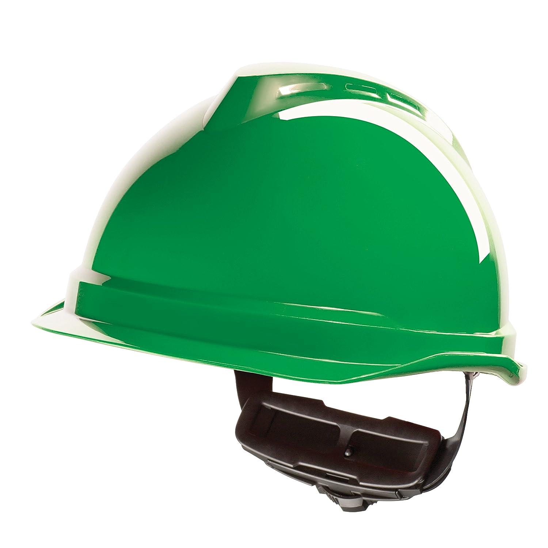 MSA V-Gard Arbeitshelm EN397 mit Schieberegelung PushKey - Bauarbeiterhelm Schutzhelm Baustellenhelm Elektrikerhelm, Farbe: gelb MSA Safety