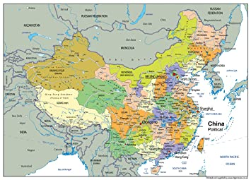 Chinese Political Map.China Political Map A1 Size 59 4 X 84 1 Cm Amazon Co Uk Office
