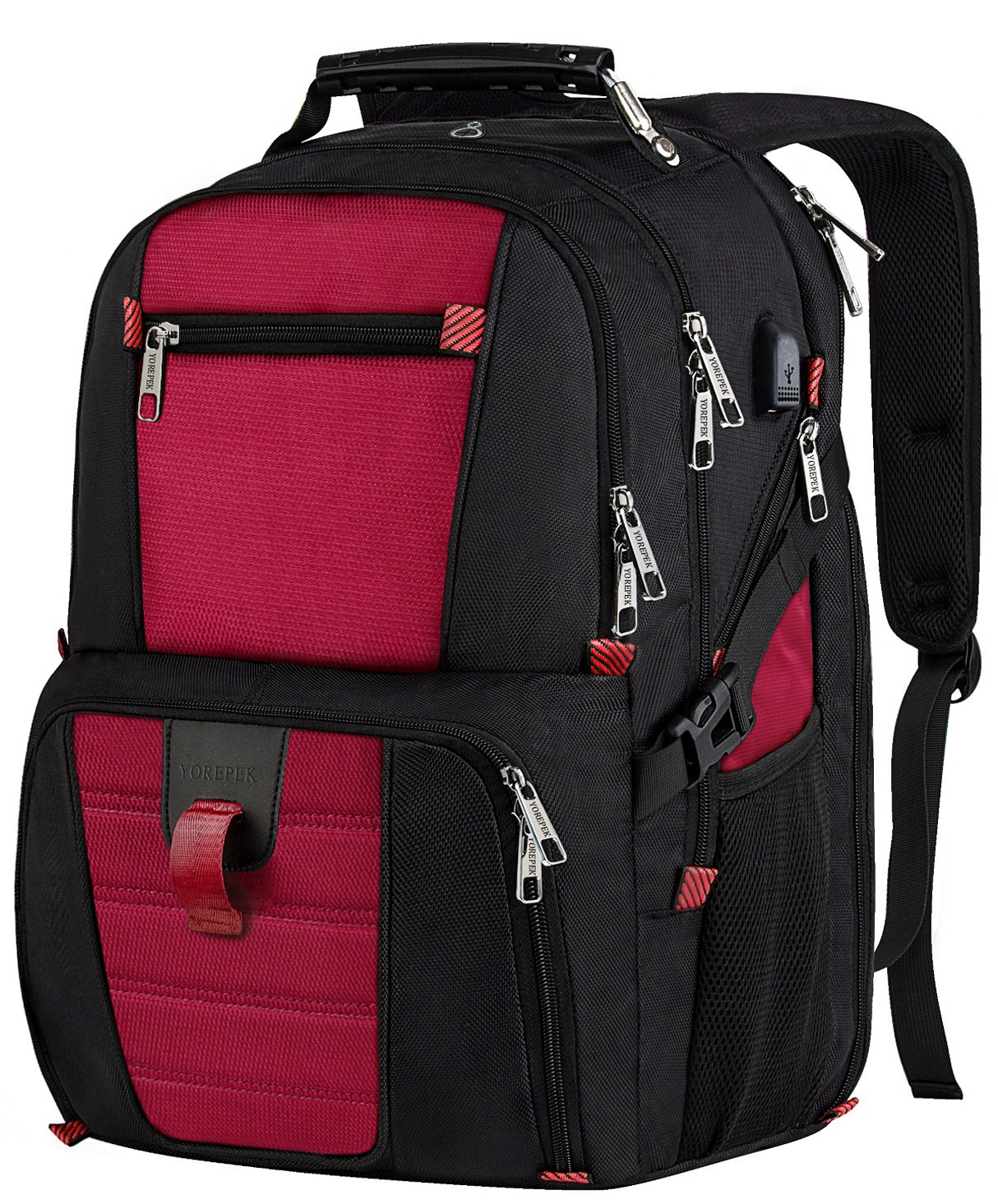 Laptop Travel Backpack, Large Capacity Computer Back Pack with Lots of Pockets,Water Repellent College Shoulder Bookbag with Usb Charging Port and Headphone Hole Fits 17 Inch Laptop,Macbook in Red