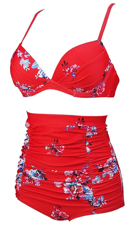 268016598a Amazon.com  COCOSHIP Women s Floral 50s Retro Convertible Push up Top Hook High  Waist Bikini Set Ruched Swimsuit(FBA)  Clothing