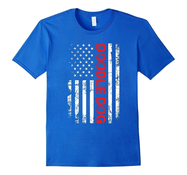 Doodle Dog American Flag Distressed Shirt-PL