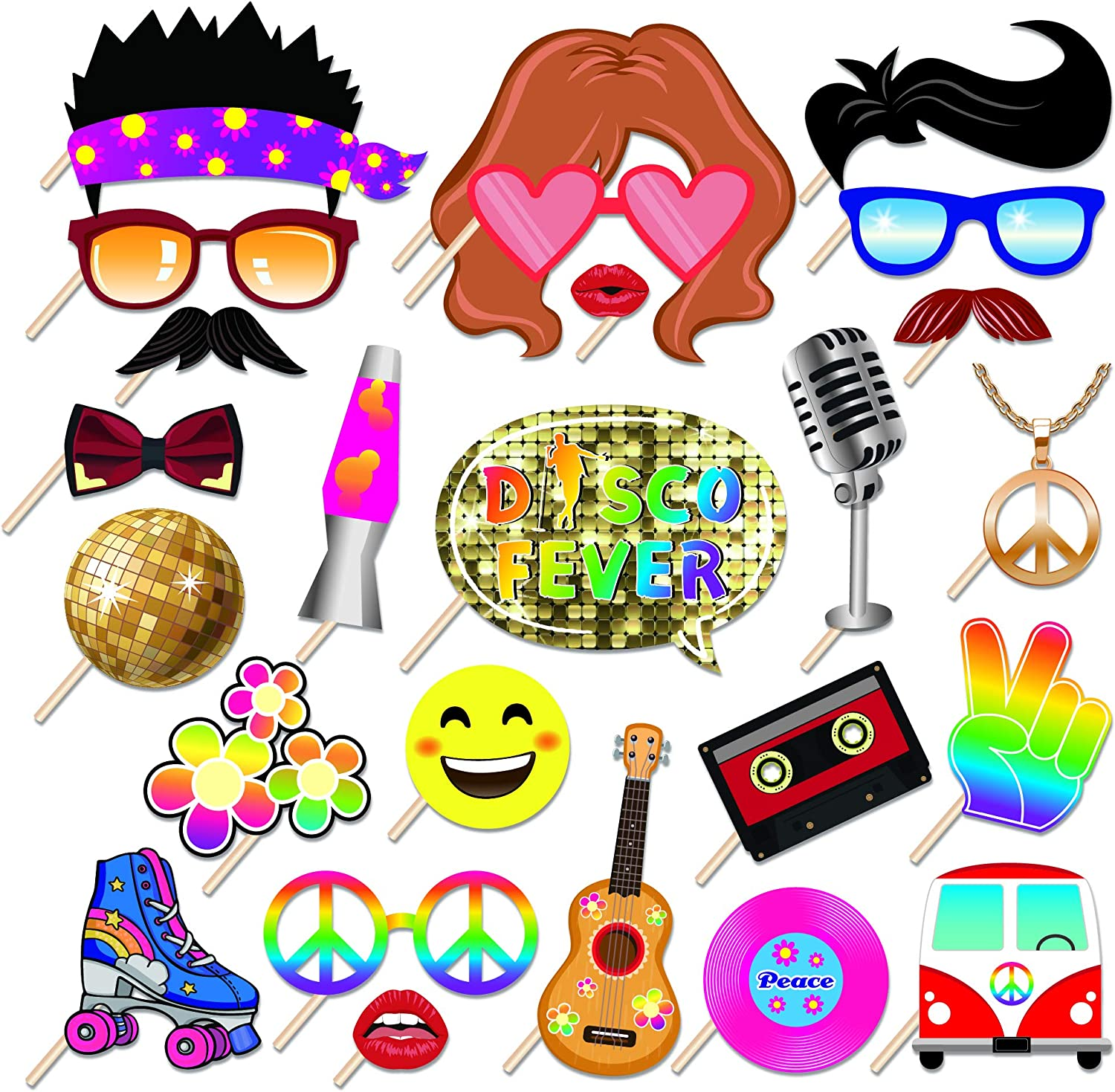 Kristin Paradise 25Pcs Disco Photo Booth Props with Stick, 70's 80's 90's Retro Theme Selfie Props, 60's Birthday Party Supplies, Hippie Photography Backdrop Decorations