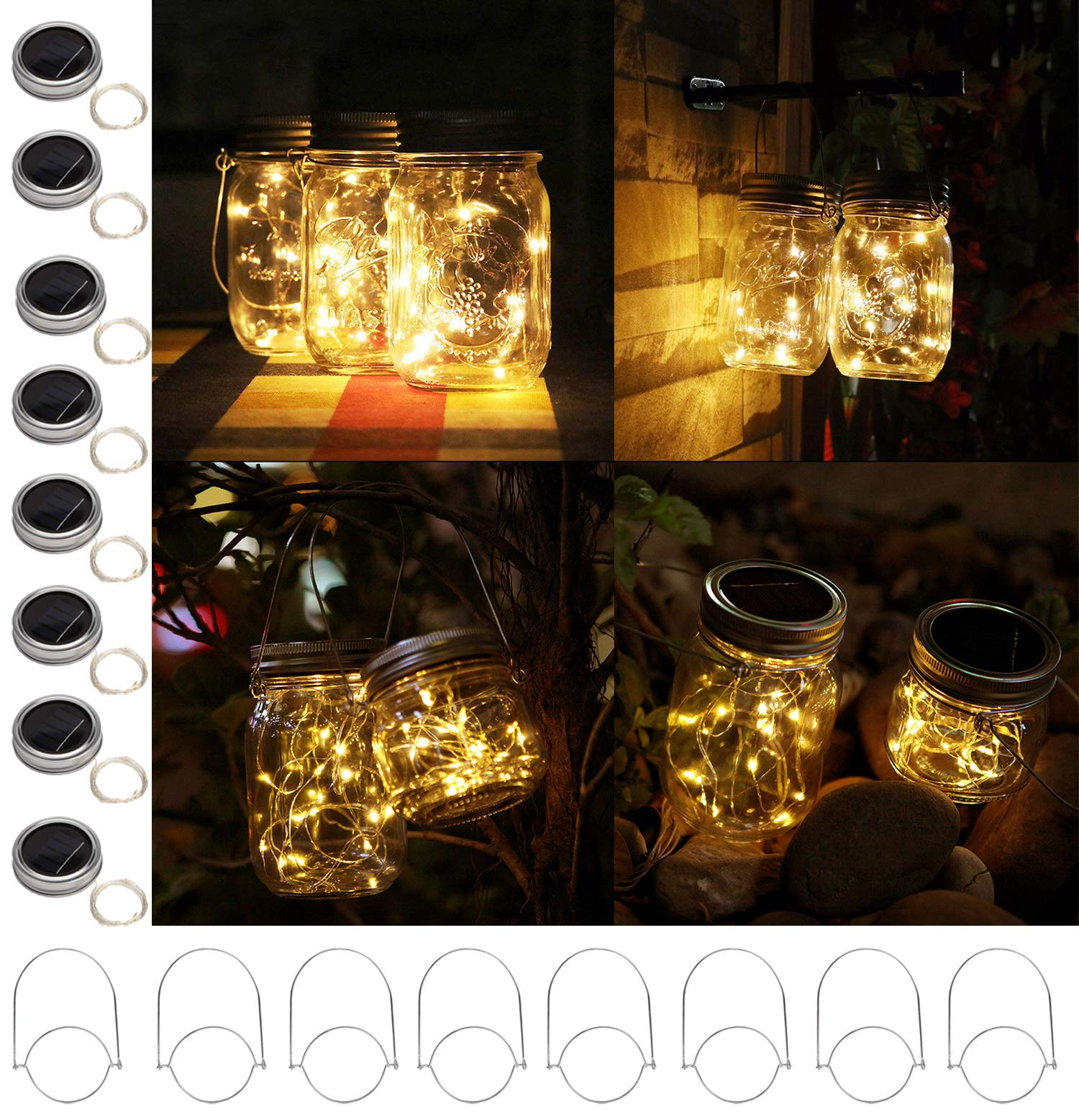 """8 Pack Solar Mason Jar Lights with 8 Handles, 10 Led String Fairy Firefly Lights Lids Insert for Regular Mouth Jars, Mason Jar,Patio,Lawn,Garden Decor (8, Warmwhite) - 8 Pack of Solar Mason Jar Lid Insert with 8 Handles (Mason Jar Not Included), 10 Led Bulbs, 37.79inch/96CM long, Lid Diameter Size: Outer 2.76 inch(70mm)/Insert 2.17 inch(55mm), suitable for any regular standard mouth mason jars,like all major brands: ball,kerr,golden harvest,kilner and generic mason jars Solar Powered LED Fairy Mason Jar Lantern, with 2V 70mA efficient solar panel,1.2 V 600mA Rechargeable AAA Battery Included.If not a bright day, AAA batteries can be used as a back-up power. Charging Methods:Charged automatically when put Solar-powered Mason Jar Lights directly under the sunlight(slide the switch to the """"ON"""" position when charging).Generally charged in the sun 6-8h will light up 8-12h. - patio, outdoor-lights, outdoor-decor - 81SVsAI0pDL -"""