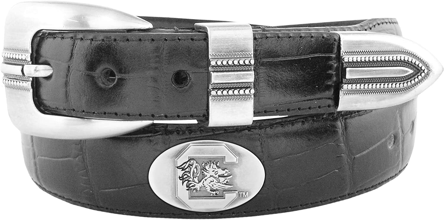 NCAA South Carolina Fighting Gamecocks Crocodile Tip Leather Concho Belt Zeppelin Products Inc