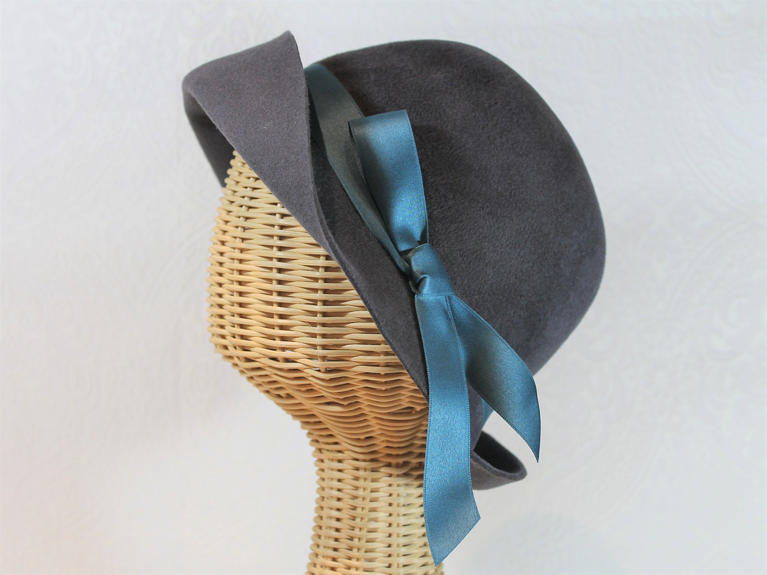 Lady Mary Cloche Hat in Charcoal Grey Velour Felt