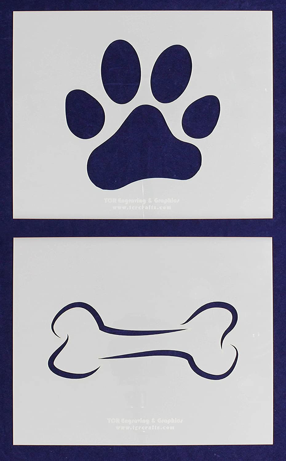 photo regarding Dog Paw Print Stencil Printable Free referred to as Pet Bone and Paw Print Stencils - 2 Piece Established - 8 x 10 Inches