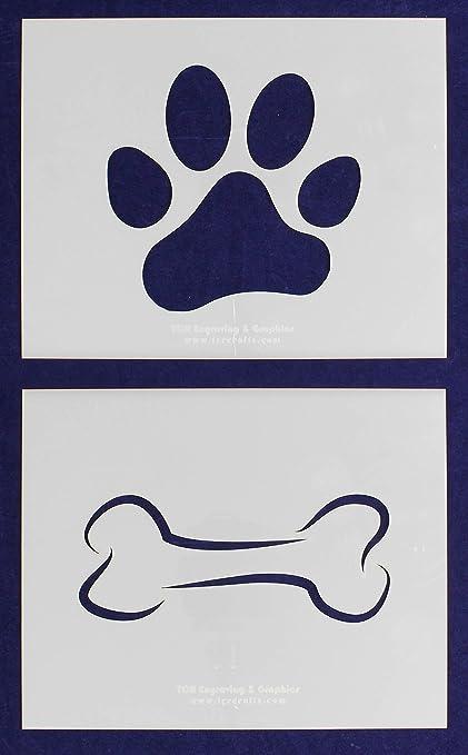 Dog Bone and Paw Print Stencils - 2 Piece Set - 8 x 10 Inches