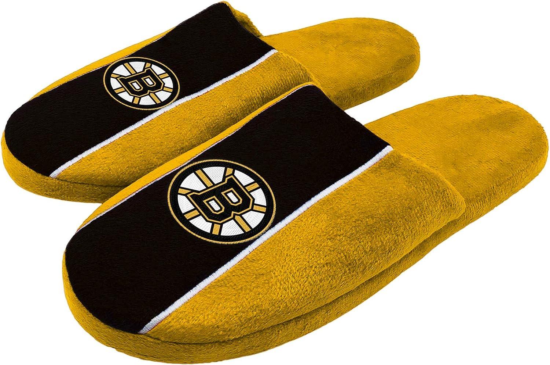 FOCO NHL Mens Big Logo Stripe Slippers