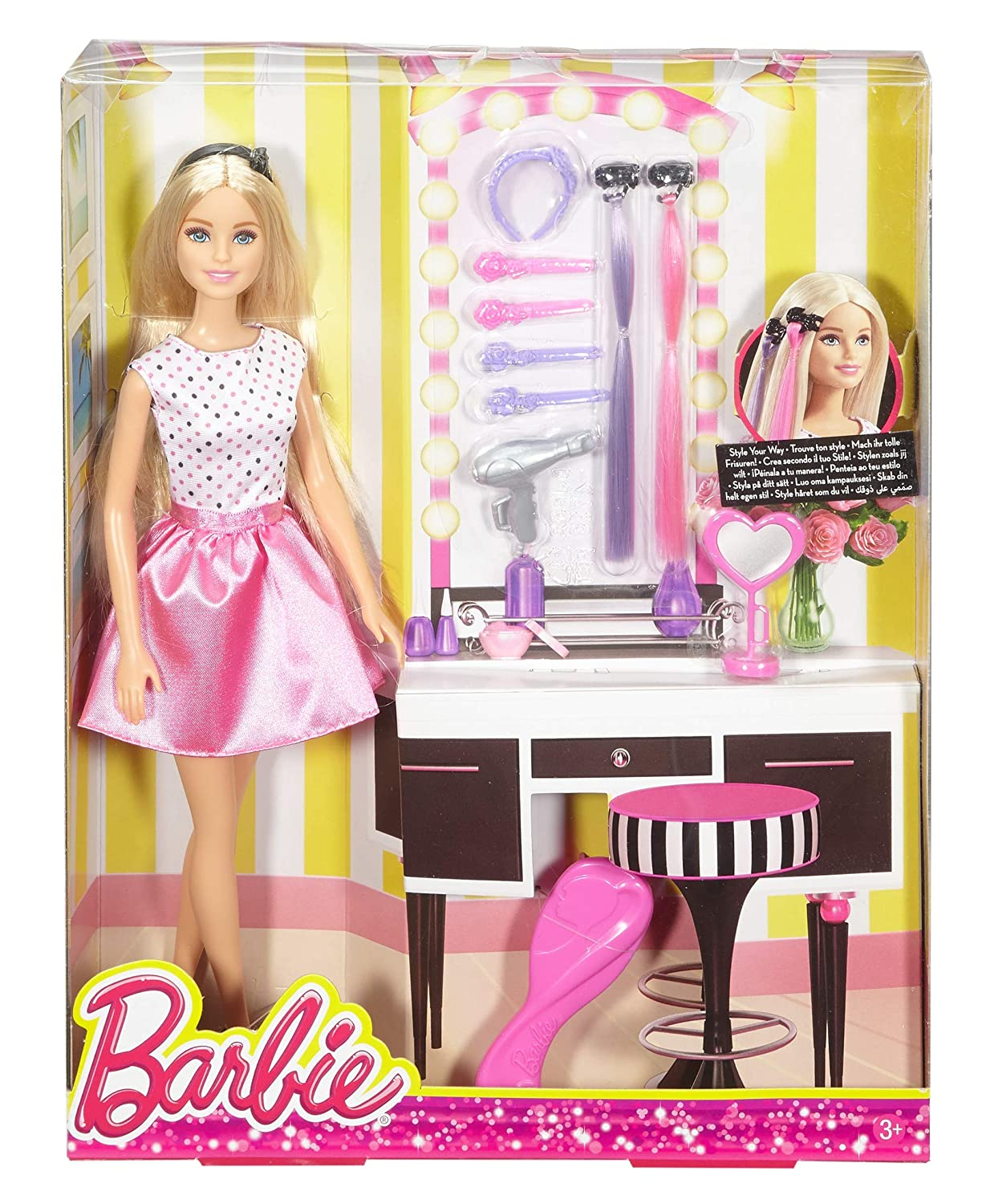 Buy Barbie Djp92 Doll Playset With Hair Styling Accessories Multi Color Online At Low Prices In India Amazon In