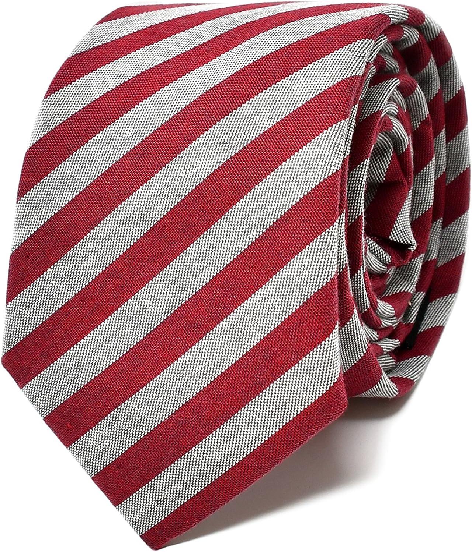 Oxford Collection Corbata de hombre Rojo y Gris a Rayas - 100% Lino - Clásica, Elegante y Moderna - (ideal para un regalo, una boda, con un traje, en la oficina.)