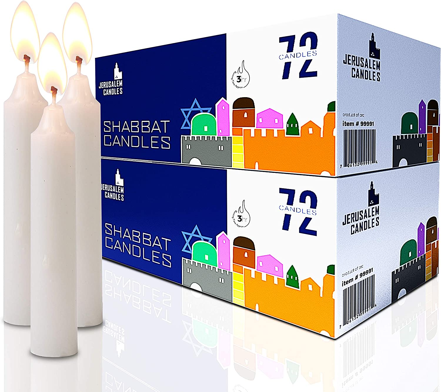 Traditional Shabbos Candles Shabbat Candles 2-Pack x 72 Candles, 144 Candles 3 Hour