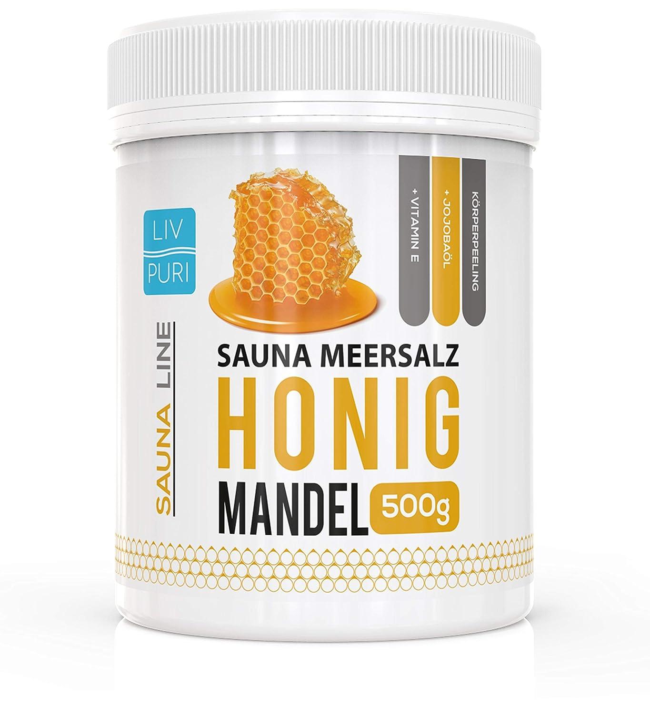 Sauna Meersalz Peeling Salz Saunasalz | Honig Mandel 500g | mit Jojobaö l | Kosmetik fü r die Haut | Ideale Wellness LivPuri