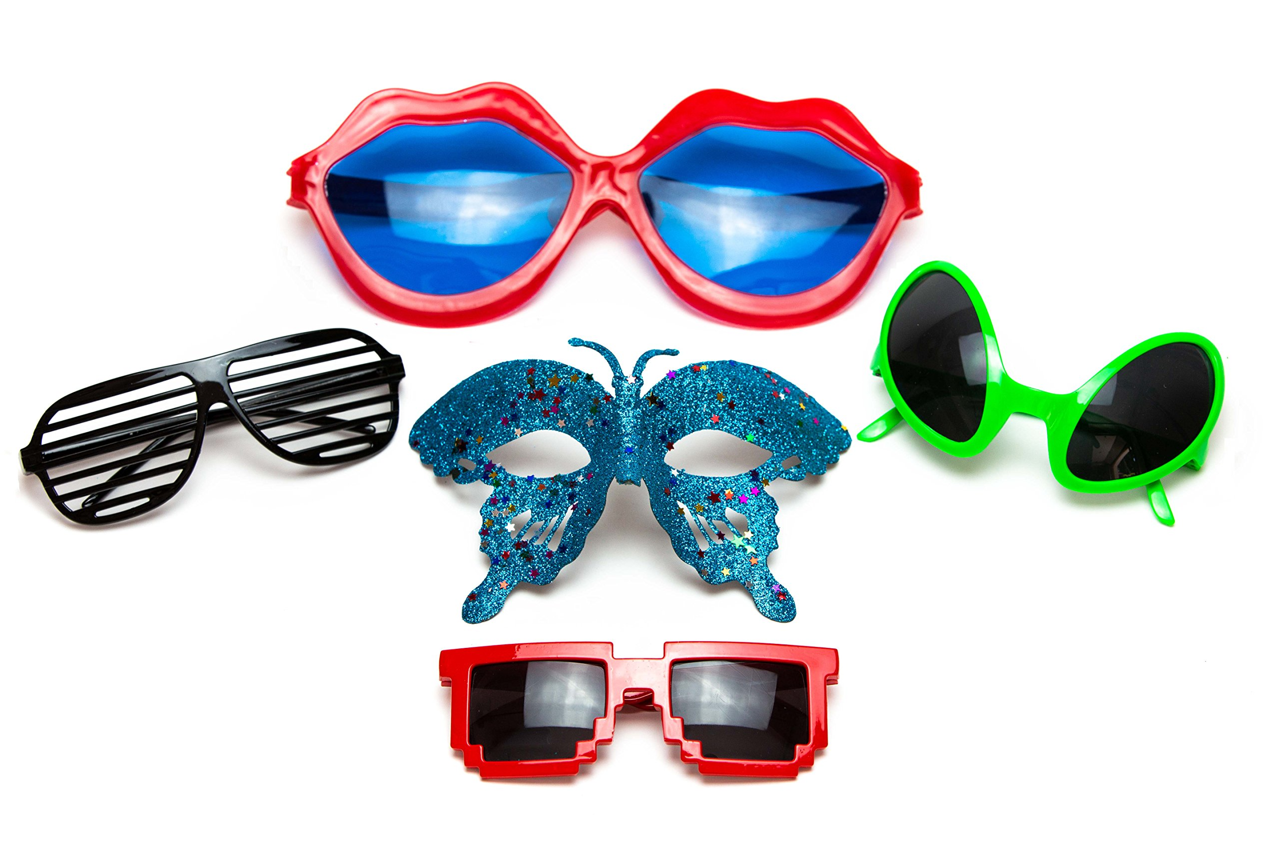 Funny Sunglasses for Party or Photo Booth - Pack of 5 Cool Unique Accessories for Kids, Men and Women - Includes Lip, Shutter Shades, 8-Bit, Alien Sunglasses and Masquerade Mask