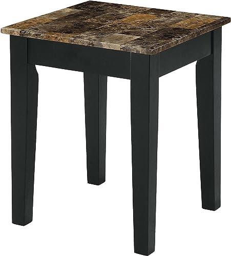 ACME Dusty II End Table – – Dark Brown Faux Marble Black