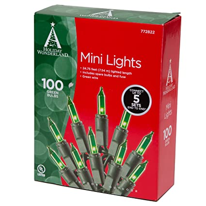 100 count green christmas light set