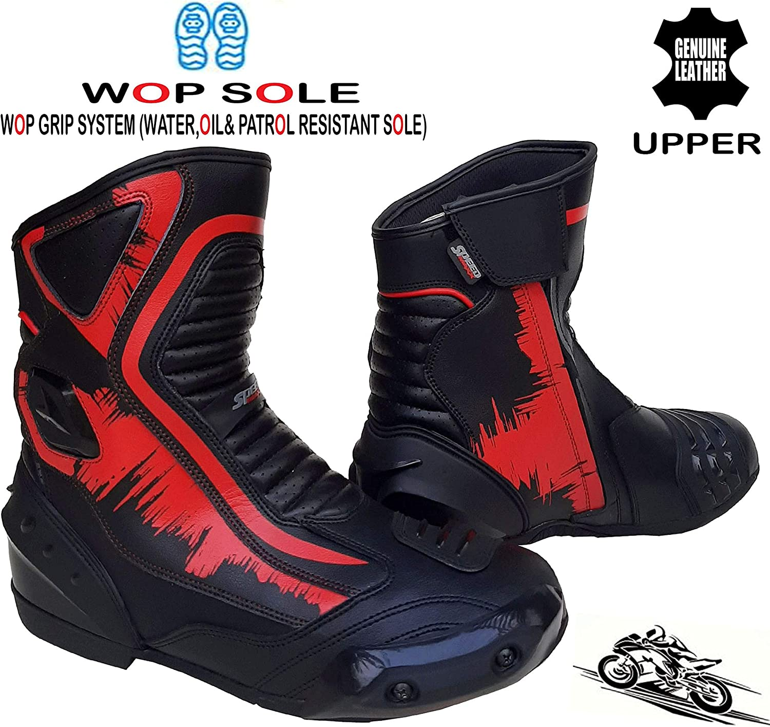 8 UK Speed MaxX Real Leather Red /& Black Mens Motorbike//Motorcycle Short Racing Sports Shoes//Boots