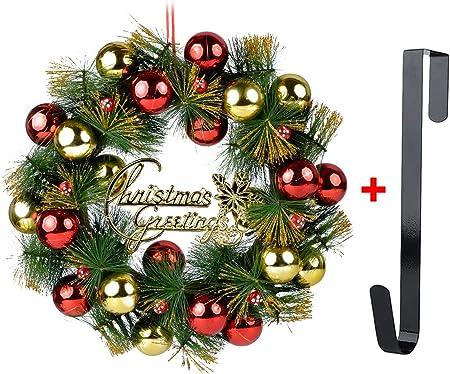 Diseño único: Corona de puerta de Navidad con una bola de Navidad, colgada en el medio de la corona