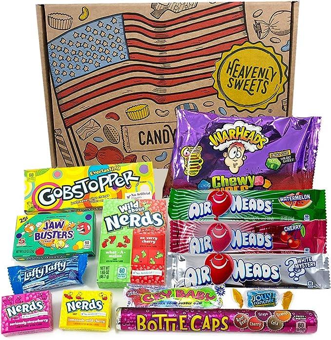 Heavenly Sweets Dulces Veganos Americanos - Selección de Golosinas de EE.UU. - Regalo de Navidad, Cumpleaños, San Valentín - 13 Piezas en Envases Retro: Amazon.es: Alimentación y bebidas