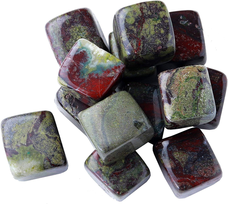 Runyangshi 1lb Natural Dragon-Blood Stone Crystal Tumbled Stones 0.78