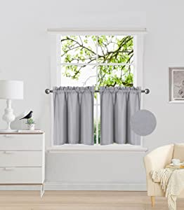 "Elegant Home 2 Panels Tiers Small Window Treatment Curtain Insulated Blackout Drape Short Panel 30""W X 24""L Each for Kitchen Bathroom or ANY Small Window # R16 (Silver / Grey)"