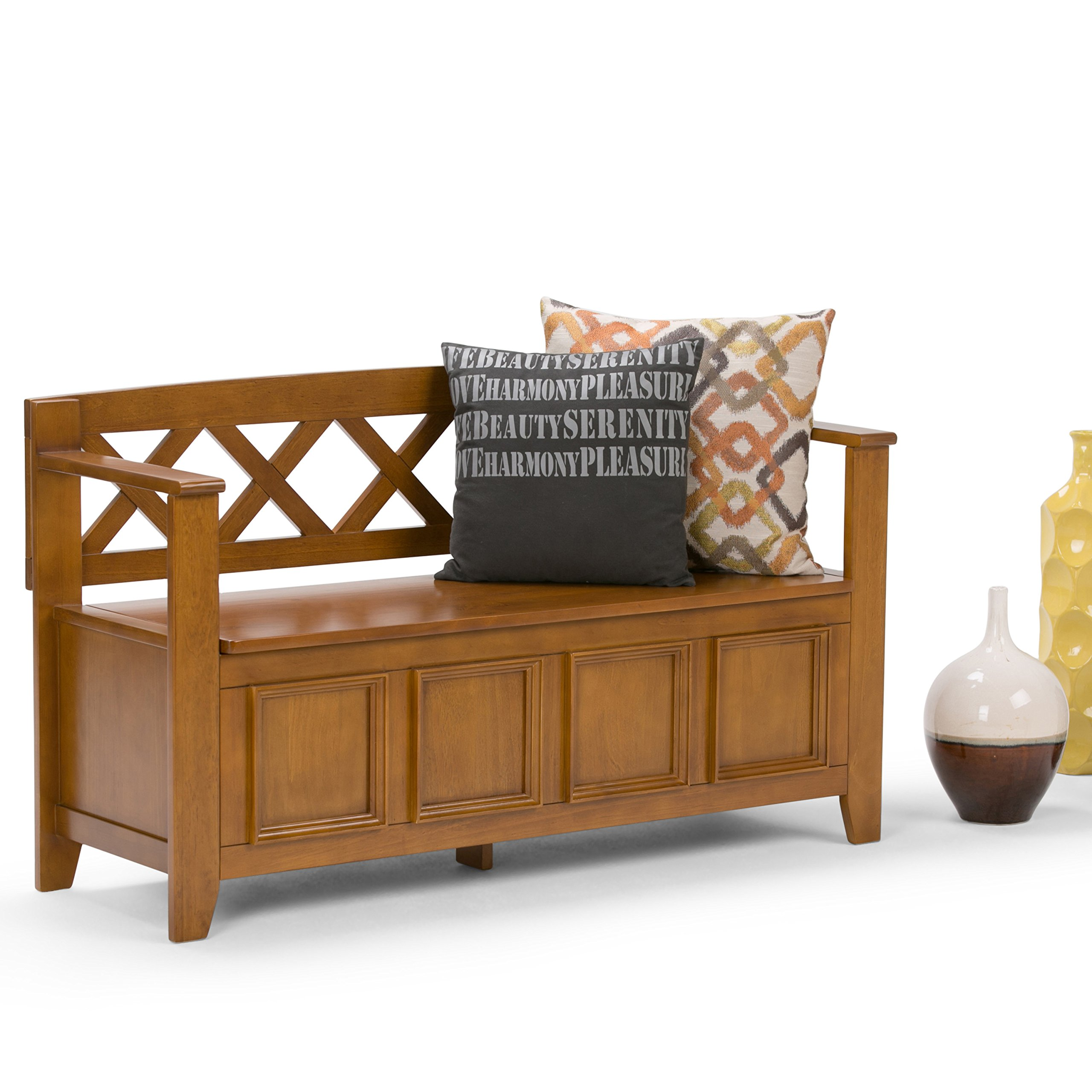 Simpli Home Amherst Solid Wood Entryway Storage Bench, Light Avalon Solid Wood Brown by Simpli Home (Image #2)