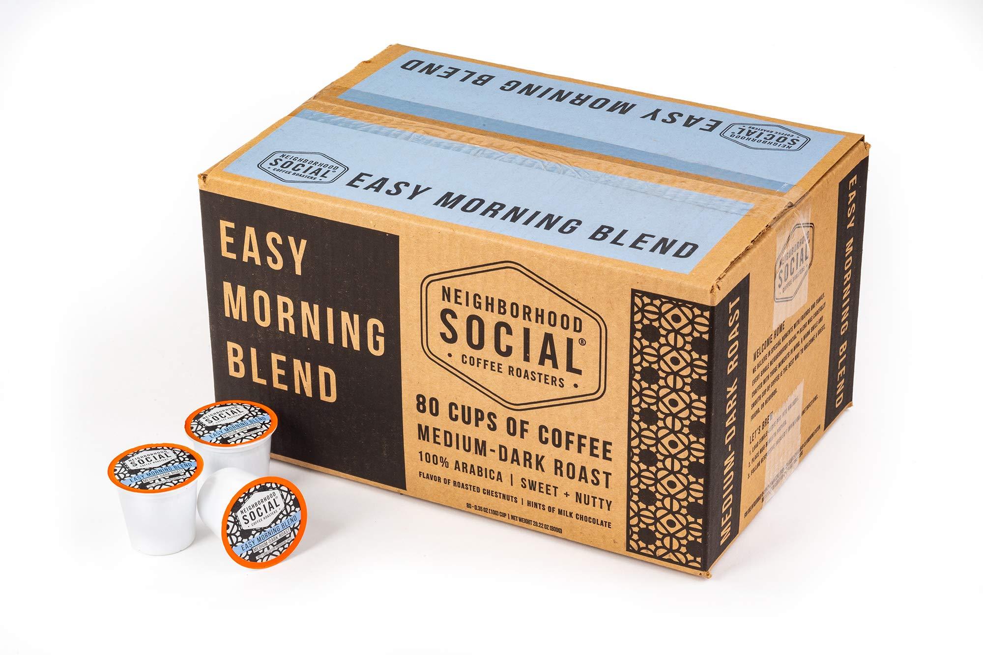 Neighborhood Social, Easy Morning Blend Medium Dark Roast Gourmet Coffee, 80 count Single Serve Cups by Neighborhood Social