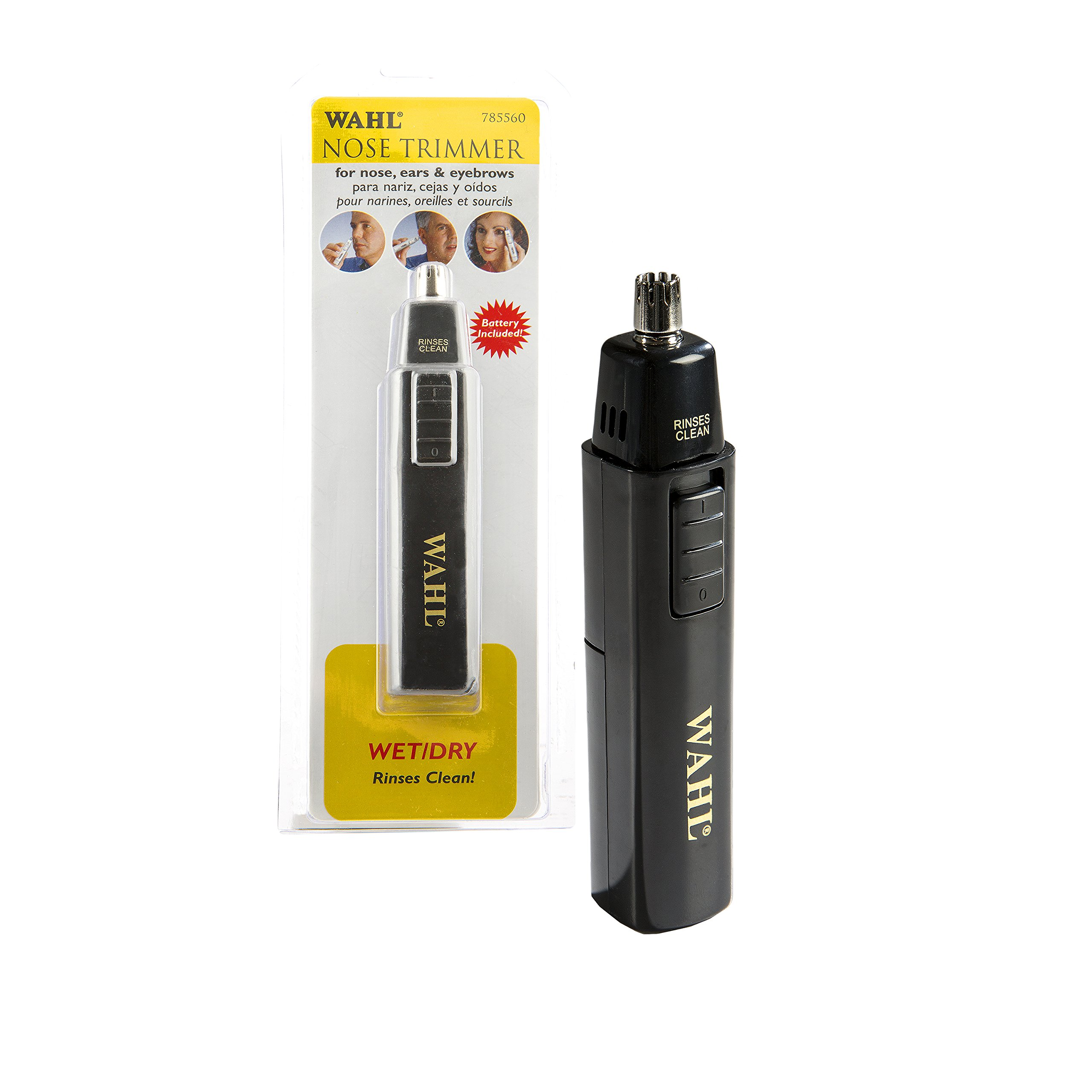 Wahl Professional Nose Trimmer #5560-700 – Great for Barbers and Stylists – Stainless Steel Blade Works Wet or Dry – Battery Operated – Accessories Included