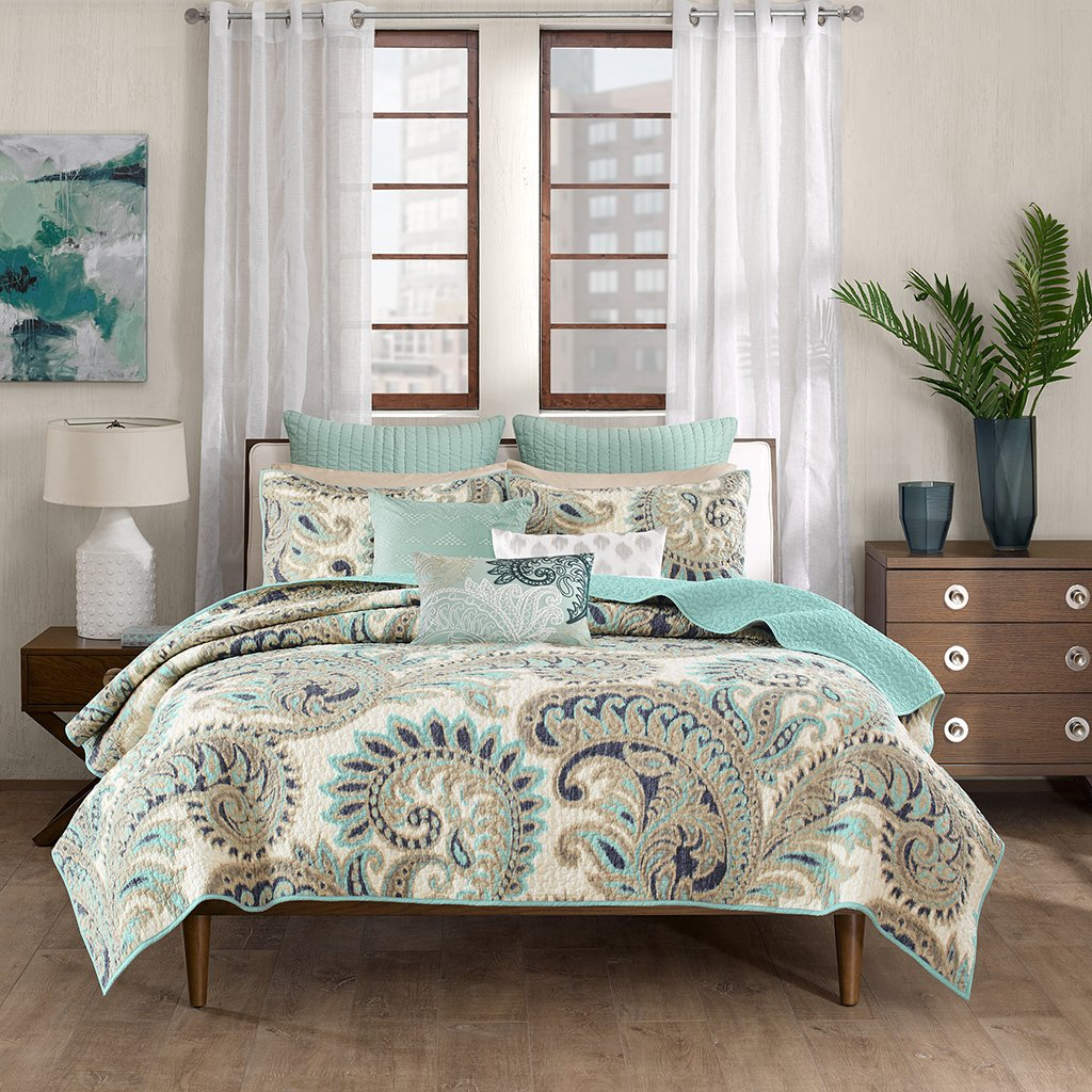 Ink+Ivy Mira Full/Queen Size Quilt Bedding Set - Teal, Paisley – 3 Piece Bedding Quilt Coverlets – 100% Cotton Bed Quilts Quilted Coverlet