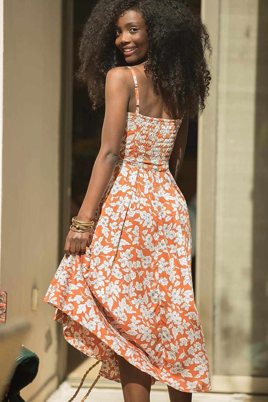 BohemianLili Net Dress with Pockets Rayon and Lace Midi Dress Burnt Orange High Waist Floral Summer Dress