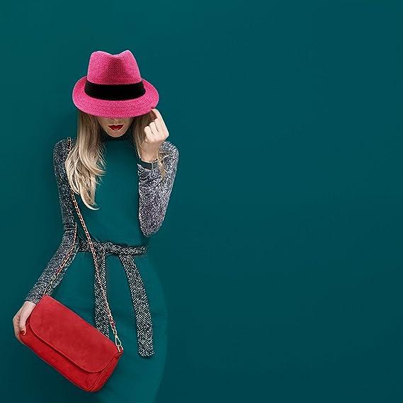Unisex Fedora della paglia del cappello Flessibile del cappello di Panama  Summers moda Rosa francese Taglia unica  Amazon.it  Abbigliamento a209b3d254dd