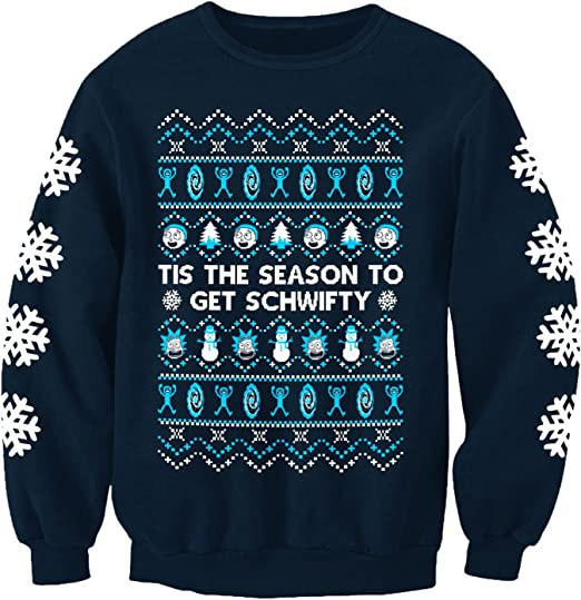 Get Schwifty Xmas Festive Adult /& Kids Jumper Top Rick /& Morty Christmas Jumper