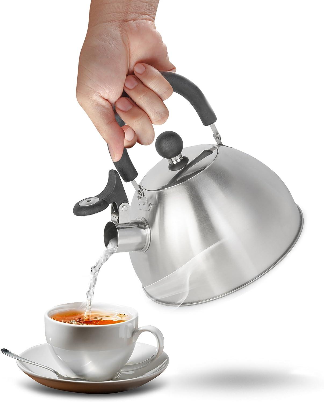 Krollmann 2,5 Liter Edelstahl Fl/ötenkessel Teekessel Wasserkocher Pfeifkessel Silber