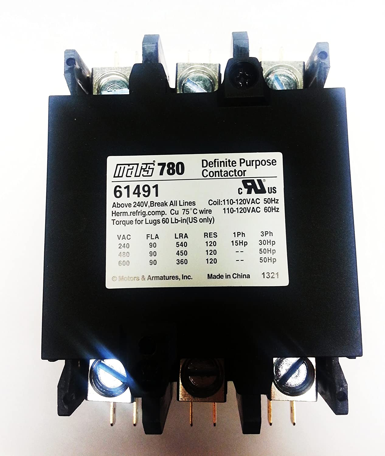 Mars 61445 contactor 3 pole Direct replacement of Furnas 42CF35AJ